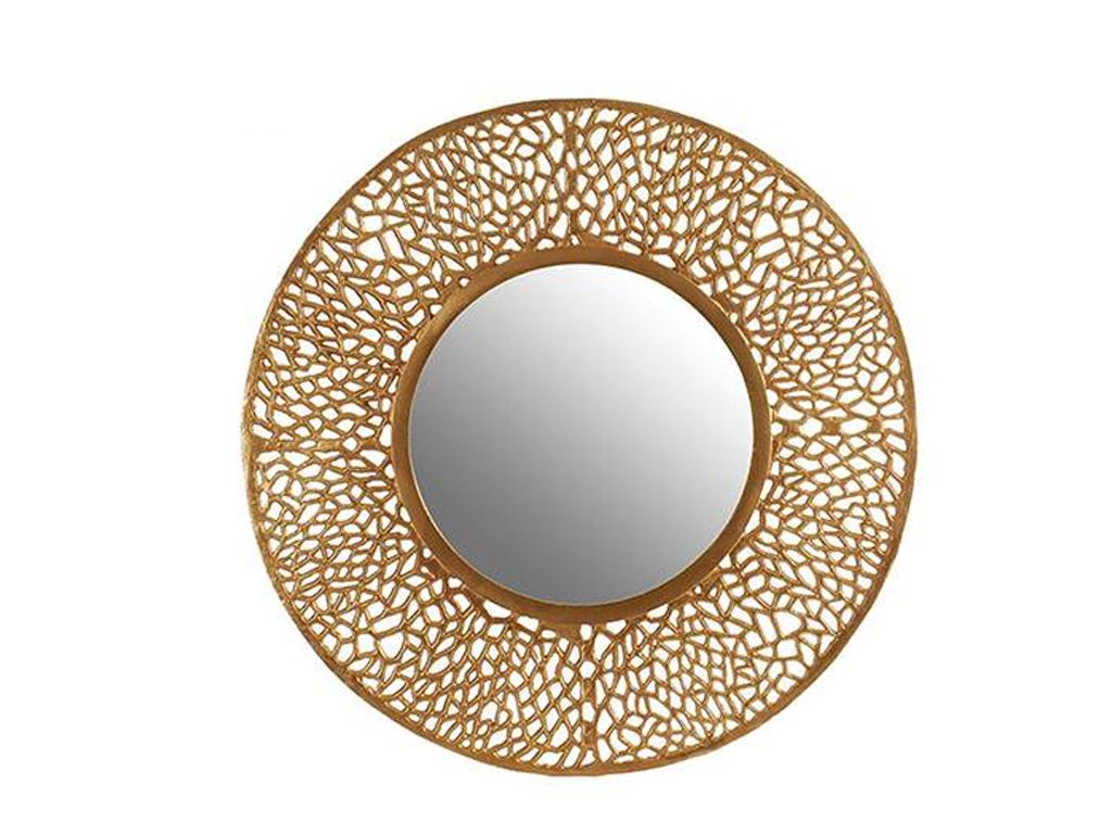 Στρογγυλός καθρέφτης με χρυσή πλέξη περιμετρικά, διαμέτρου 42 εκατοστά κατάλληλος για εσωτερική διακόσμηση - Gift Decor