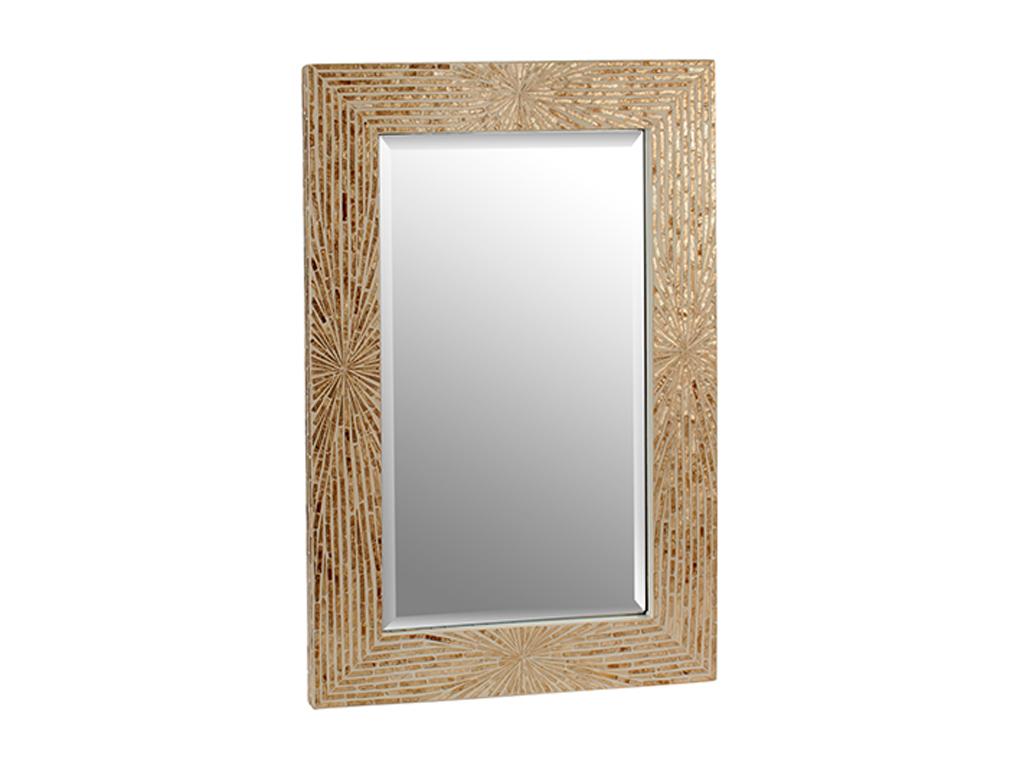 Ψηφιδωτός διακοσμητικός καθρέφτης, σε Ορθογώνιο σχήμα και διαστάσεις 61x3x90 εκατοστά, σε μπεζ Χρυσές αποχρώσεις - Gift Decor