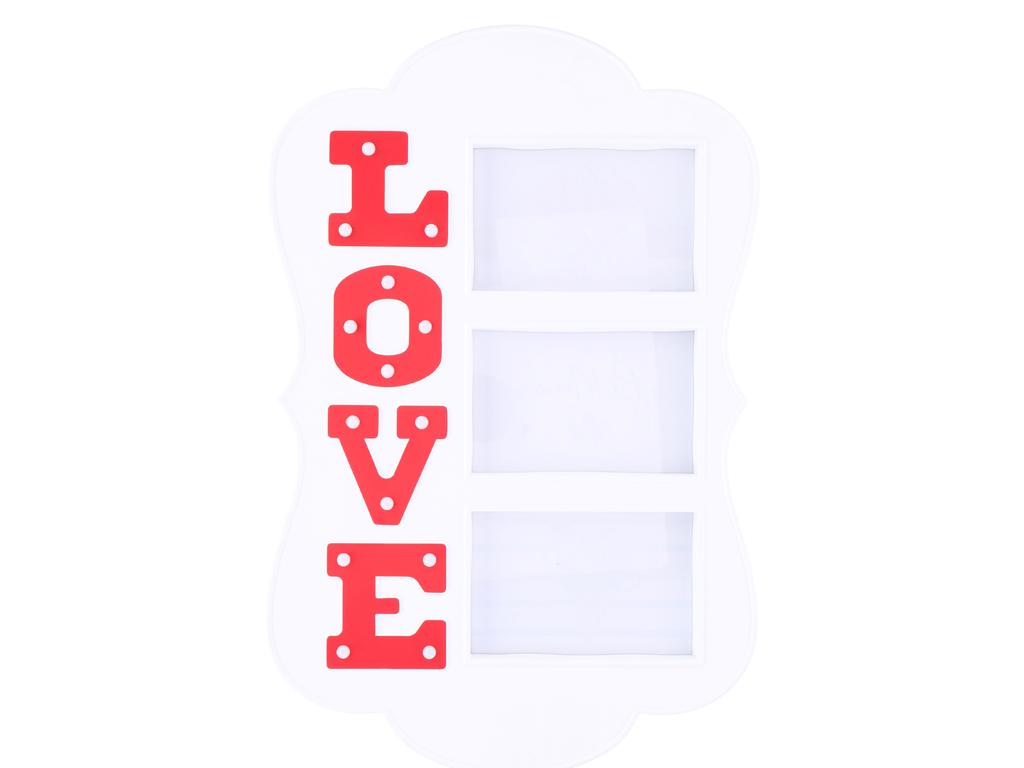 Πολυκορνίζα Πλαστική για 3 φωτογραφίες με διακοσμητικά Led φωτιζόμενα γράμματα, θέμα