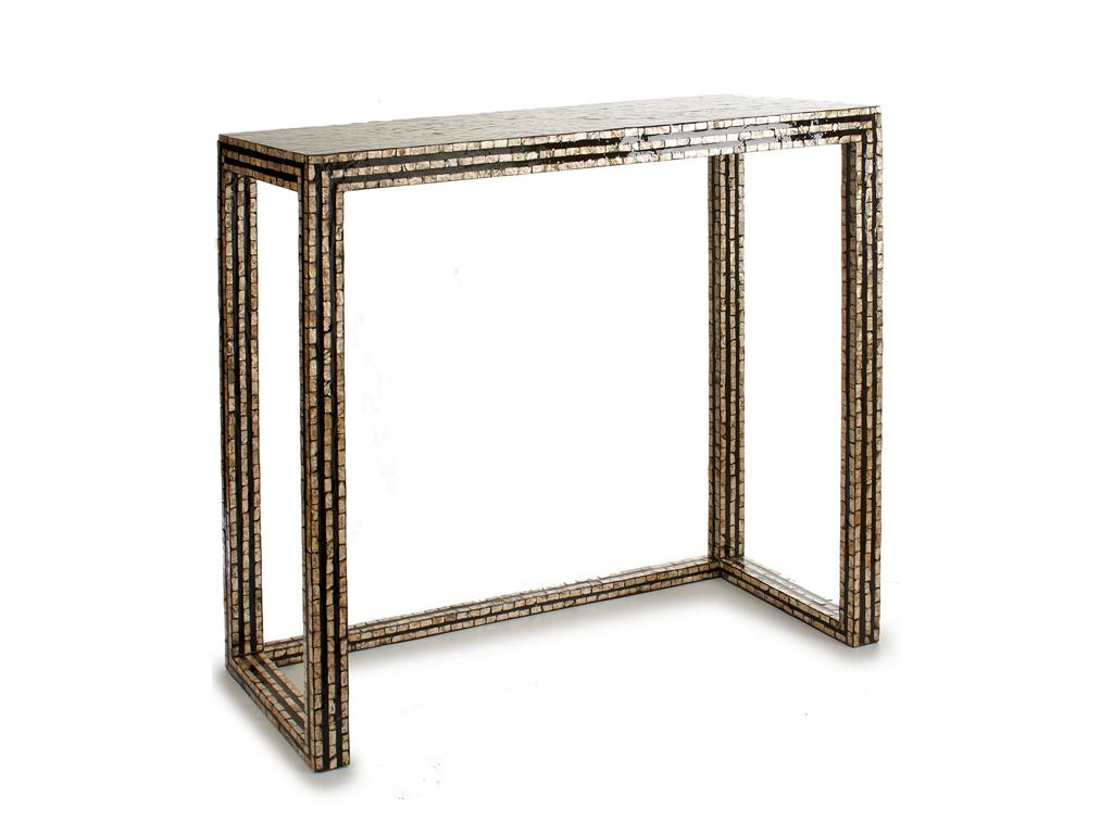 Τραπεζάκι σαλονιού Side Tables, με υφή ψηφιδωτού, σε Μαύρες χρυσές αποχρώσεις διαστάσεων 90x30x68 εκατοστά - Gift Decor
