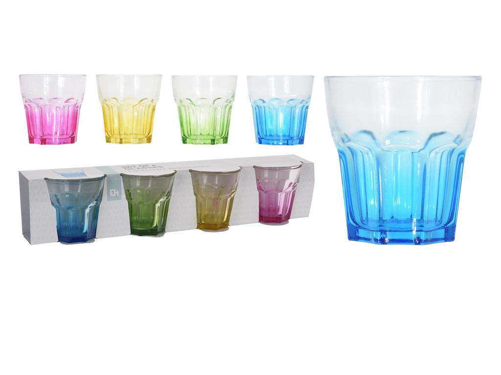 Σετ Γυάλινα ποτήρια νερού 4 τεμαχιών, χωρητικότητας 290ml, σε 4 διαφορετικά χρώματα - Cb