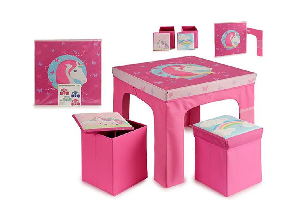 Σετ πτυσσόμενο παιδικό τραπεζάκι Μονόκερος και σκαμπό 3 τεμαχίων, με θέμα Unicorn σε Ροζ χρώμα, διαστάσεων 60x60x48 εκατοστά - Gift Decor