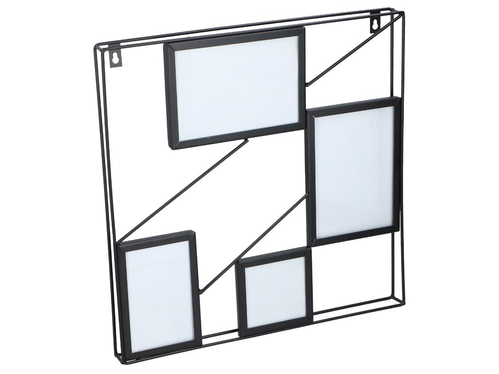 Μεταλλική πολυκορνίζα τοίχου για 4 φωτογραφίες σε Τετράγωνη μεταλλική κατασκευή, διαστάσεων 40x40x3.5, ArtiCasa - Arti Casa