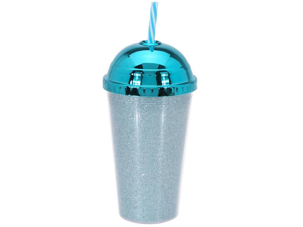 Ποτήρι με Καλαμάκι και Καπάκι σε μεταλλιζέ αποχρώσεις 450ml Μπλε - Cb κουζίνα   θερμός και παγούρια