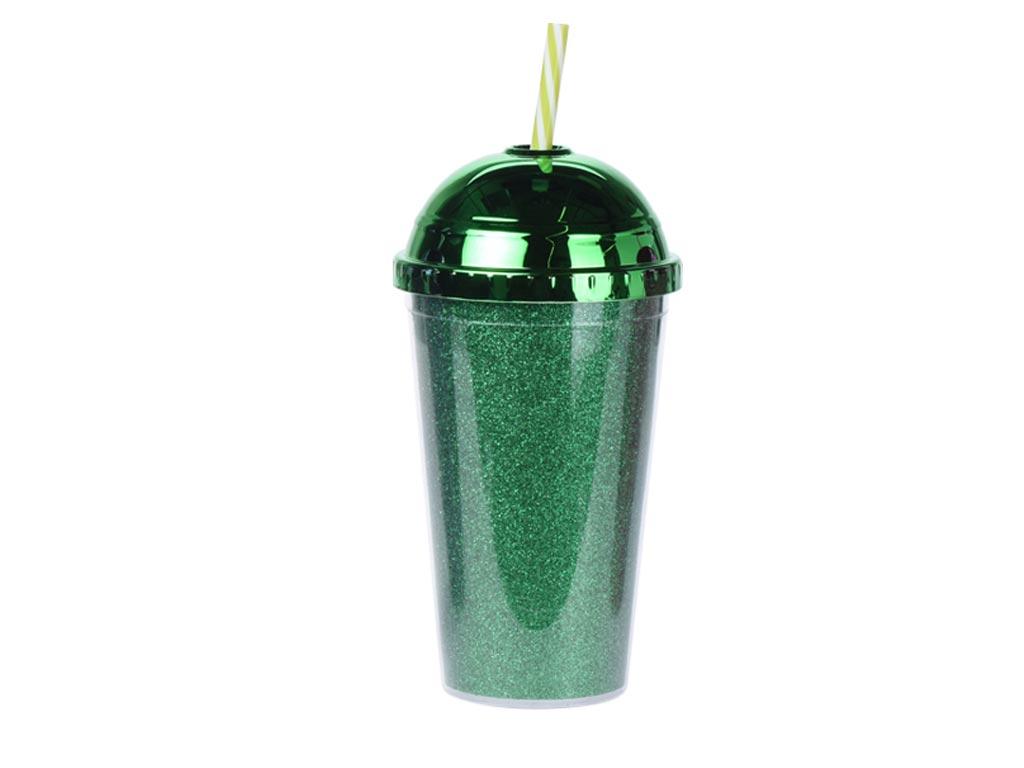 Ποτήρι με Καλαμάκι και Καπάκι σε μεταλλιζέ αποχρώσεις 450ml Πράσινο - Cb κουζίνα   θερμός και παγούρια