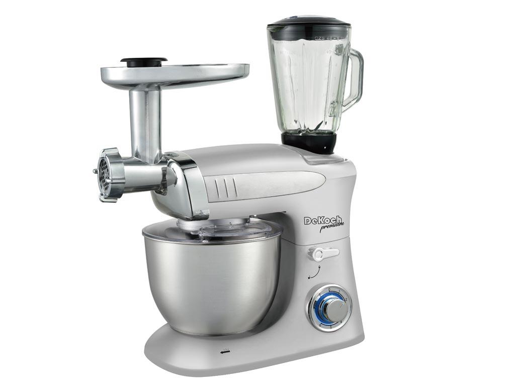 Dekoch Κουζινομηχανή Μίξερ 1300W με Κανάτα 1.5L, Κρεατομηχανή, Κάδο 6.5L και επιπλέον Αξεσουάρ σε Ασημί χρώμα - Dekoch