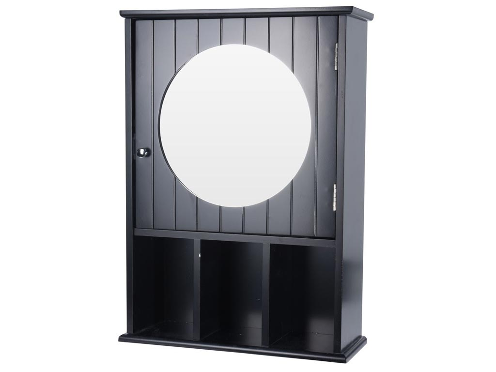Ξύλινο Ντουλάπι Τοίχου με Καθρέφτη για το Μπάνιο σε Μαύρο χρώμα, 56x40x15cm - Cb μπάνιο   έπιπλα μπάνιου