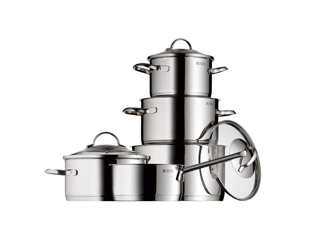 WMF Σετ Μαγειρικά Σκεύη 5 τεμαχίων από Ανοξείδωτο Ατσάλι 18/10 με Γυάλινο Καπάκι μαγειρικά σκεύη   σετ μαγειρικών σκευών