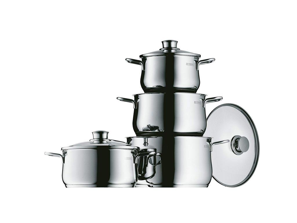 WMF Σετ Μαγειρικά Σκεύη 4 τεμαχίων από Ανοξείδωτο Ατσάλι 18/10 με Γυάλινο Καπάκι μαγειρικά σκεύη   σετ μαγειρικών σκευών