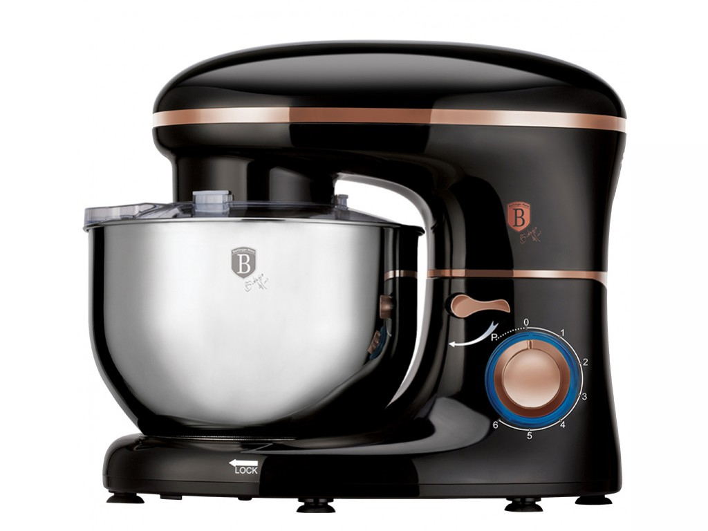 Berlinger Haus Κουζινομηχανή Μίξερ mixer 1400W με Ανοξείδωτο Κάδο 6 λίτρων, 6 ταχύτητες και επιπλέον 3 Αξεσουάρ σε μαύρo-Roze Gold χρώμα, BH-9042 - Berlinger Haus