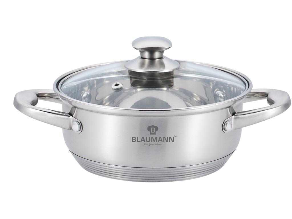 Blaumann Κατσαρόλα ρηχή 20cm με πάτο Induction και γυάλινο καπάκι, Satin Gourmet Line, BL-3308 - Blaumann