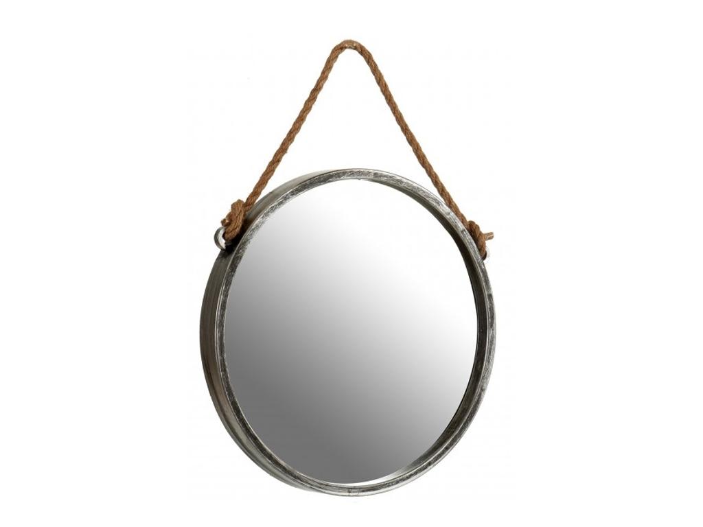 Διακοσμητικός Επιτοίχιος Στρογγυλός Καθρέφτης με Σχοινί, 3.5x35x35cm, σε Ασημί χρώμα, Gift Decor - Gift Decor
