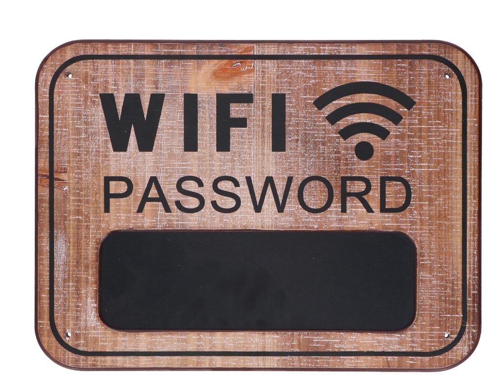 69df0b53471a Ξύλινη Πινακίδα τοίχου με θέμα Wifi και Μαυροπίνακα