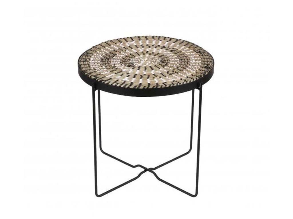 Τραπεζάκι Σαλονιού Μπαλκονιού Side Table Bohemian Style με επιφάνεια από άχυρο και μεταλλικό σκελετό, διαμέτρου 43 εκατοστά - Cb