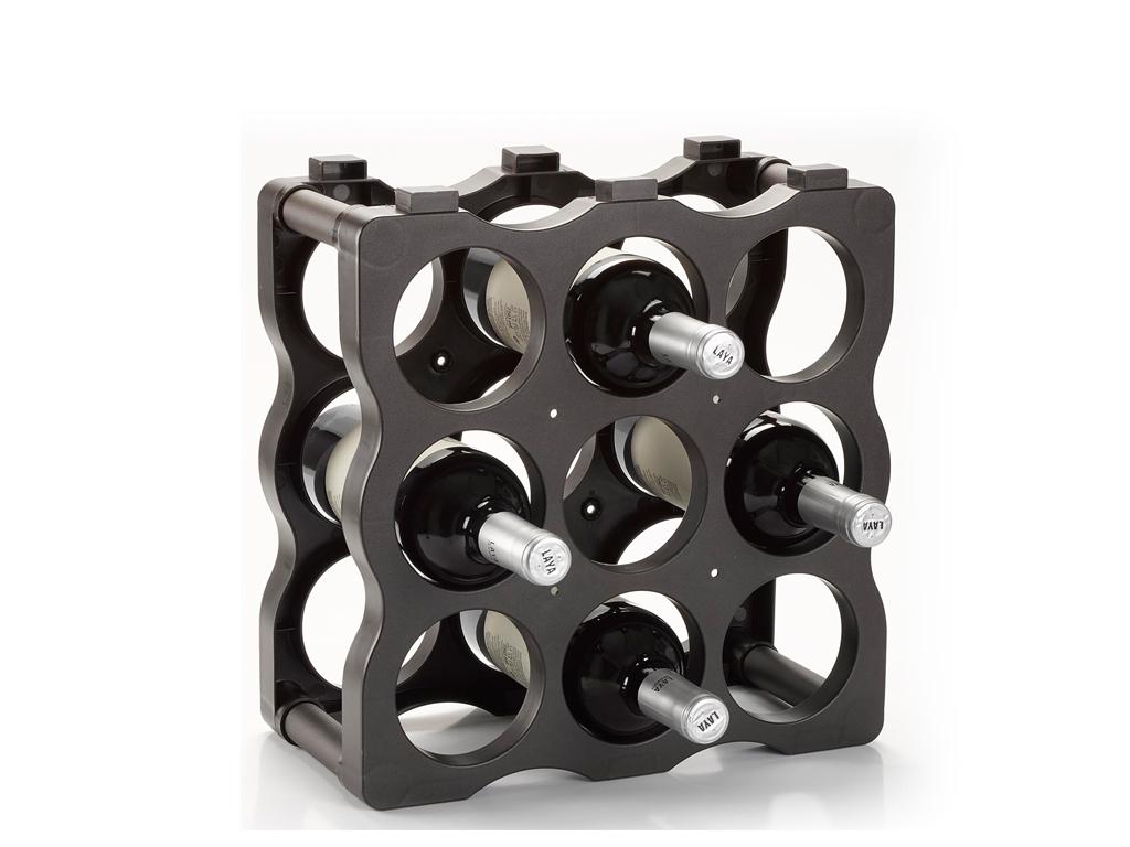 Πλαστική μπουκαλοθήκη Κάβα κρασιών 9 θέσεων στοιβαζόμενη, διαστάσεων 34,5 X 16 X κουζίνα   αξεσουάρ και έπιπλα αποθήκευσης κρασιών