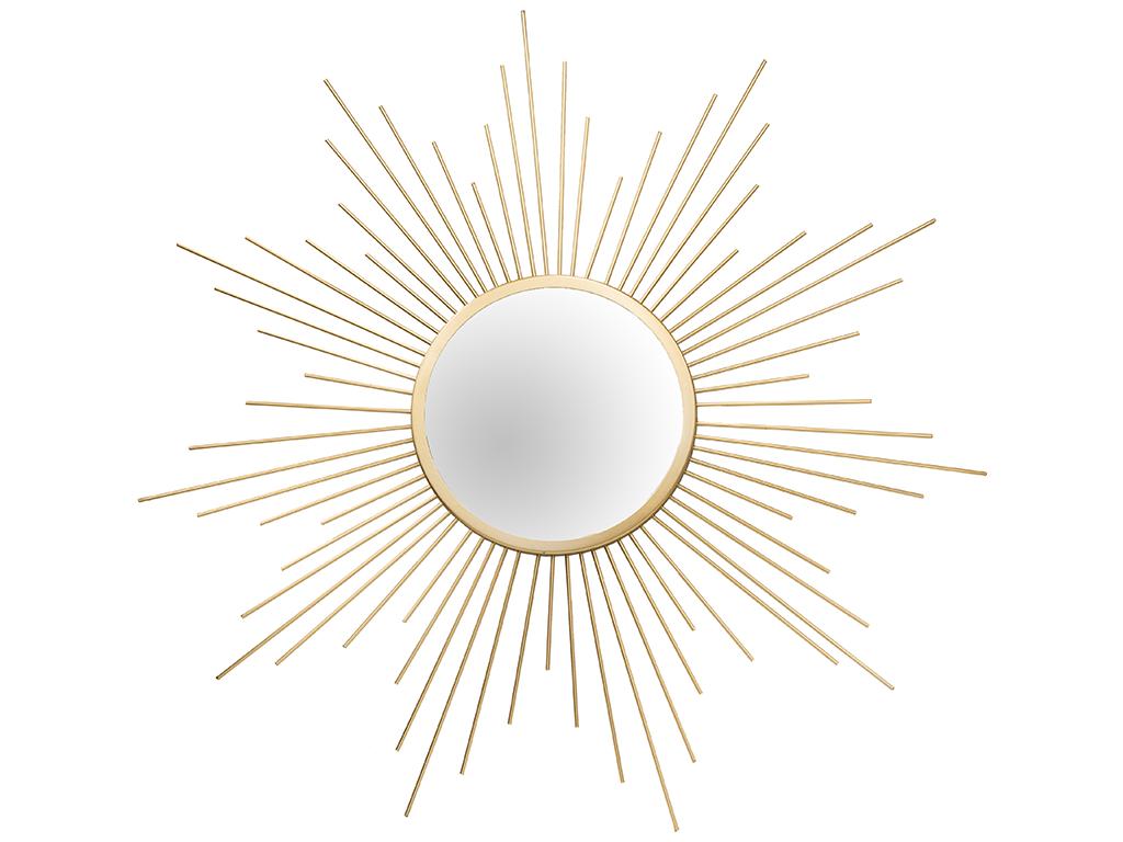 Διακοσμητικός στρογγυλός Καθρέφτης σε σχήμα ήλιου, με ακτίνες σε χρυσό χρώμα και διαστάσεις 60 εκατοστών - Cb