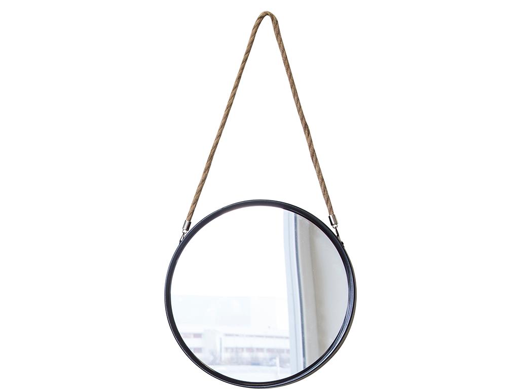 Διακοσμητικός επιτοίχιος στρογγυλός καθρέφτης με σχοινί, διαστάσεων 40x40x4 εκατοστά - Cb