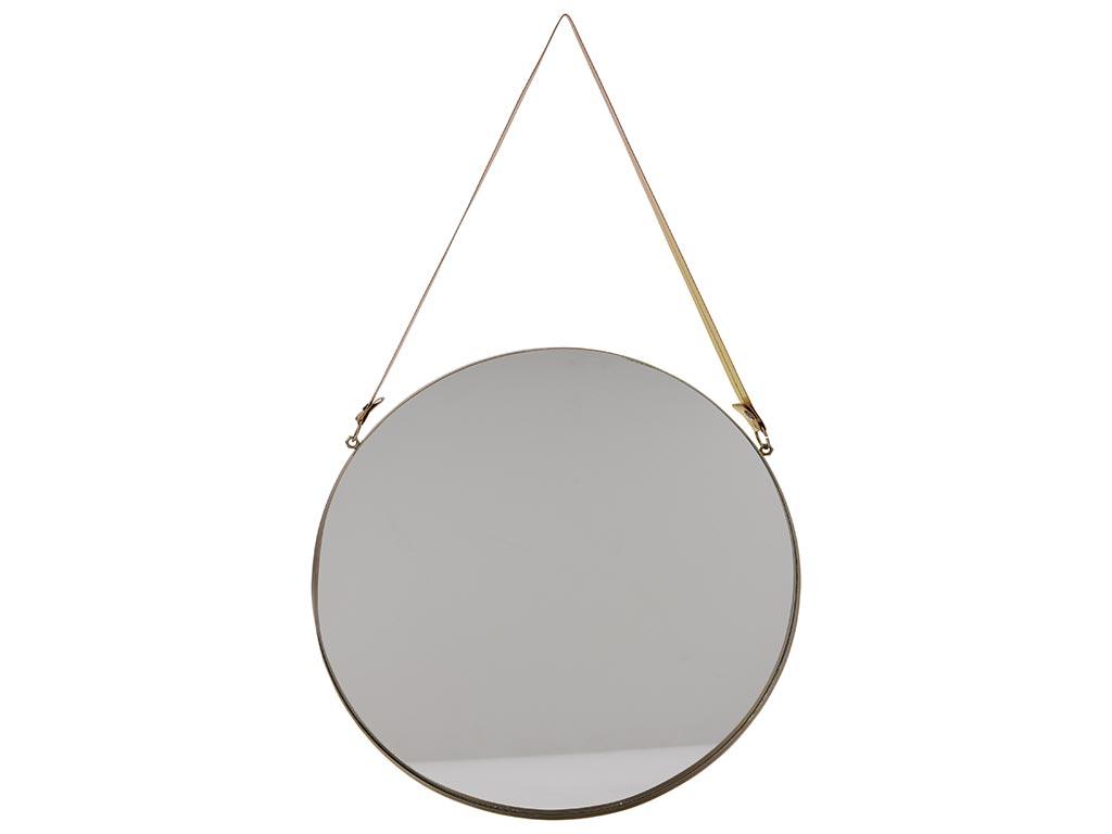 Διακοσμητικός Επιτοίχιος Στρογγυλός Καθρέπτης από μέταλλο και λουράκι από οικολογικό δέρμα, σε χρυσό χρώμα, διαστάσεων 30x50 εκατοστά - JY&K