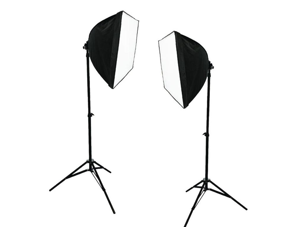 Επαγγελματικό σετ φωτισμού για στούντιο φωτογράφισης, με 2 τρίποδα φώτα, 2 λαμπτήρες 125 Watt και θήκη μεταφοράς - Cb