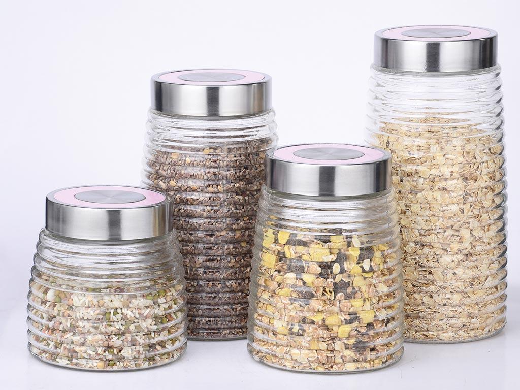 Michelino Σετ Γυαλινα δοχεία Βάζα Αποθήκευσης Ξηρών τροφίμων, 4 τεμαχίων σε διαφορετικα μεγέθη, με μεταλλικό καπάκι, σε 4 διαφορετικά χρώματα Ροζ - Michelino