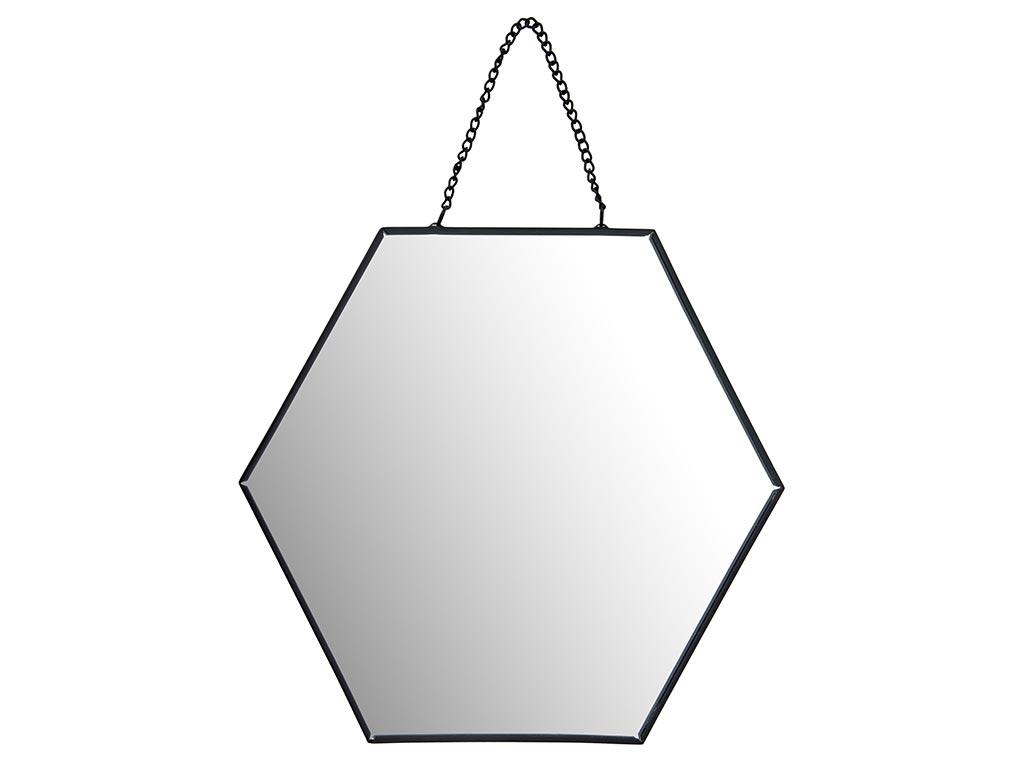 Διακοσμητικός Επιτοίχιος Εξάγωνος Καθρέφτης με αλυσίδα, διαστάσεων 10 x 20 x 17 εκατοστά - Cb