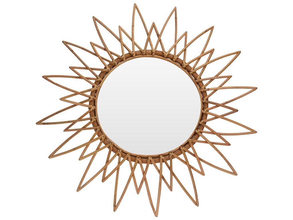 Διακοσμητικός Επιτοίχιος Καθρέφτης σε σχήμα Ηλιοτρόπιου από ξύλο Bamboo, διαστάσεων 90 x 4 εκατοστά - Cb
