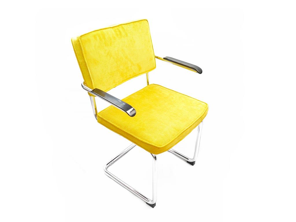 Μεταλλική καρέκλα με μπράτσα και δύο υφασμάτινα μαξιλάρια σε Κίτρινο χρώμα, Elephant - Elephant