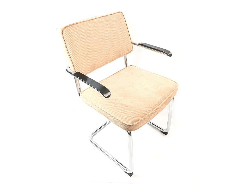 Μεταλλική καρέκλα με μπράτσα και δύο υφασμάτινα μαξιλάρια σε Μπεζ χρώμα, Elephant - Elephant
