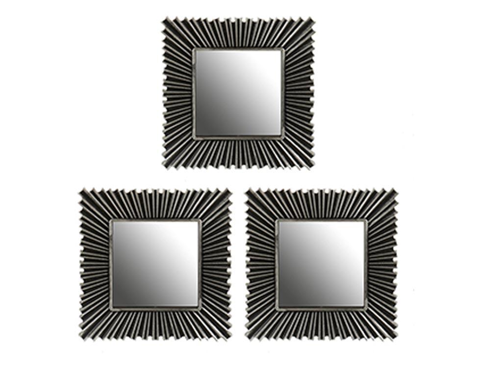 Σετ επιτοίχιοι Καθρέπτες 3 τεμαχίων, Τετράγωνοι, Kατάλληλοι για διακόσμηση, διαστάσεων 24,5 x 24,5 x 1..5 εκατοστά, Gift Decor - Gift Decor