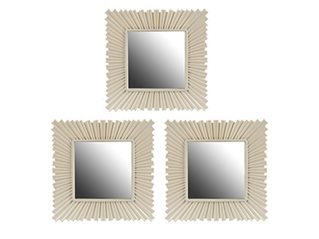Σετ επιτοίχιοι Καθρέπτες 3 τεμαχίων, Τετράγωνοι, Kατάλληλοι για διακόσμηση , Διαστάσεων 24,5 x 24,5 x 1.5 εκατοστά, σε Λευκό Χρώμα, Gift Decor - Gift Decor