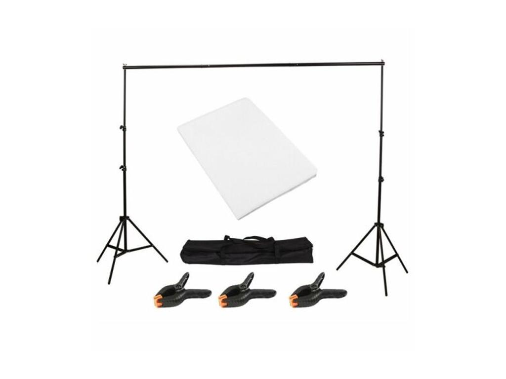 Κιτ Εξοπλισμός για στούντιο φωτογράφισης με τηλεσκοπικό stand, 2 πανιά για λευκό και μαύρο φόντο και θήκη μεταφοράς - Cb