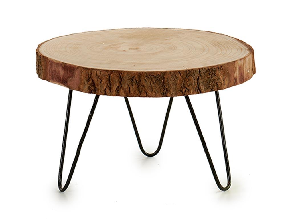 Βοηθητικό Τραπέζι σαλονιού από Μασίφ Κορμό Ακακίας, Side Table, με διάμετρο 37 εκατοστά, Gift Decor - Gift Decor