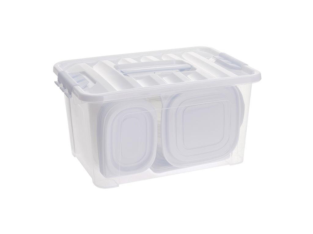 Σετ Τάπερ 44 τεμαχίων Δοχεία Φαγητού Φαγητοδοχεία σε διάφορα μεγέθη από πλαστικό κατάλληλο για φούρνο μικροκυμάτων έως 120°C, διαστάσεις 28x27x20 εκατοστά, Excellent Houseware - Excellent Houseware