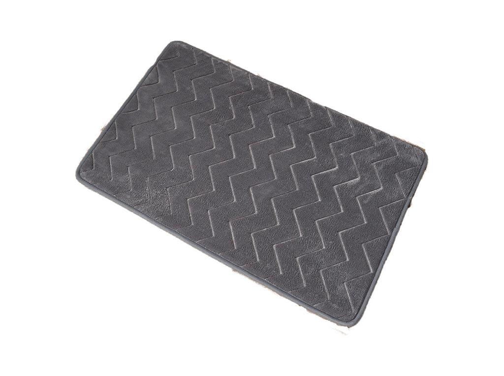 Πατάκι με μικροϊνες και Memory Foam, σχέδιο zig-zag, σε σκούρο γκρι χρώμα, διαστάσεις 50×80 εκατοστά