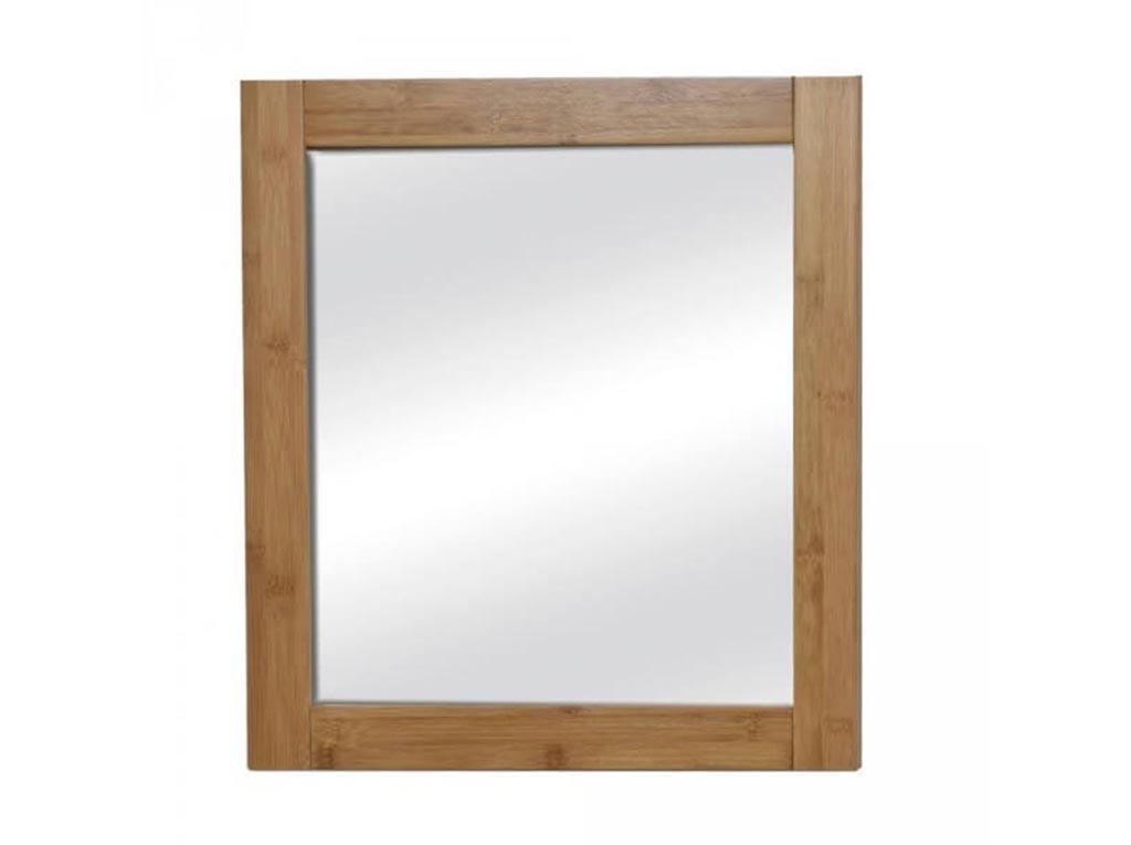 Τετράγωνος Διακοσμητικός Καθρέφτης από MDF ξύλο, σε καφέ χρώμα τύπου bamboo, διαστάσεις 48x1.5x21.8 εκατοστά, ΜΑΗΕ - Cb