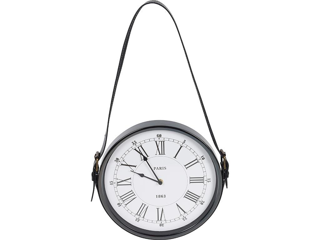 Ρολόι Τοίχου για διακοσμητική χρήση με κράτημα από λουράκι, σε μαύρο χρώμα, διαστάσεις 30x4x30 εκατοστά - Cb