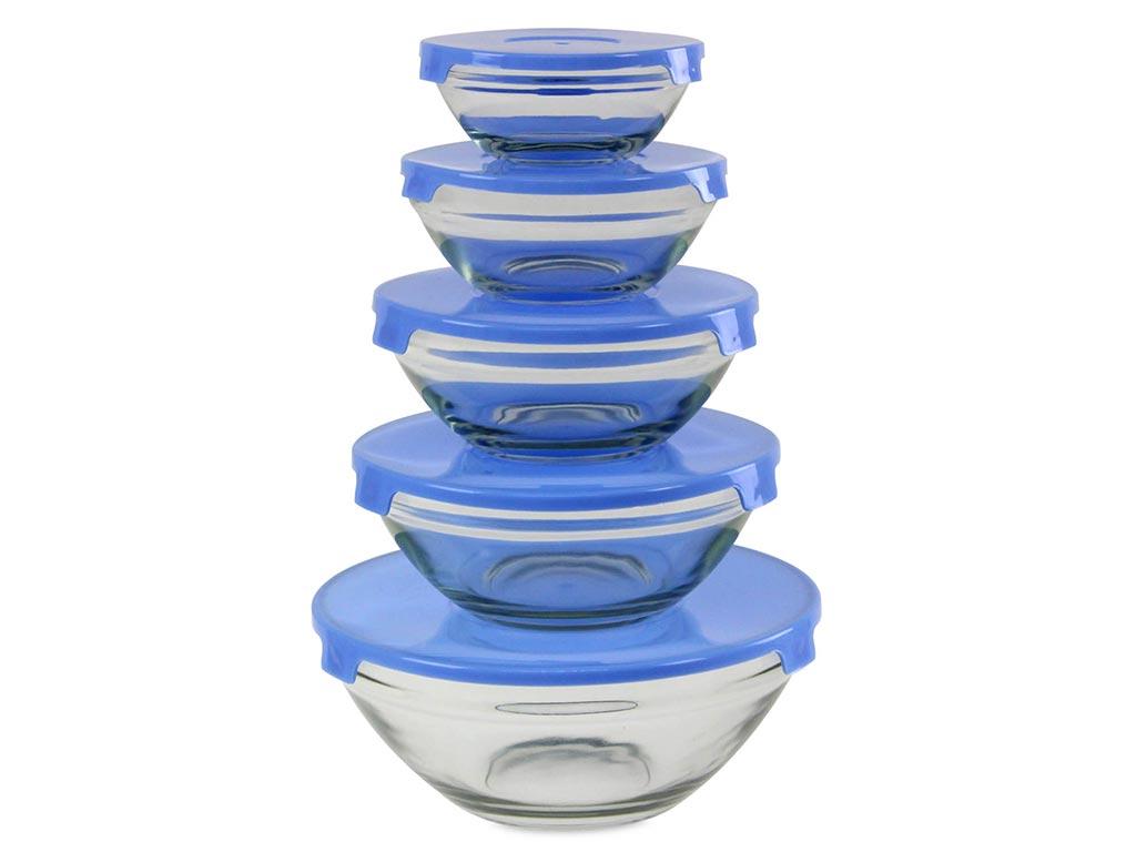 Σετ 5 τεμαχίων Γυάλινο Μπολ Αποθήκευσης τροφίμων, σε 5 διαστάσεις και 3 χρώματα Μπλε - Cb