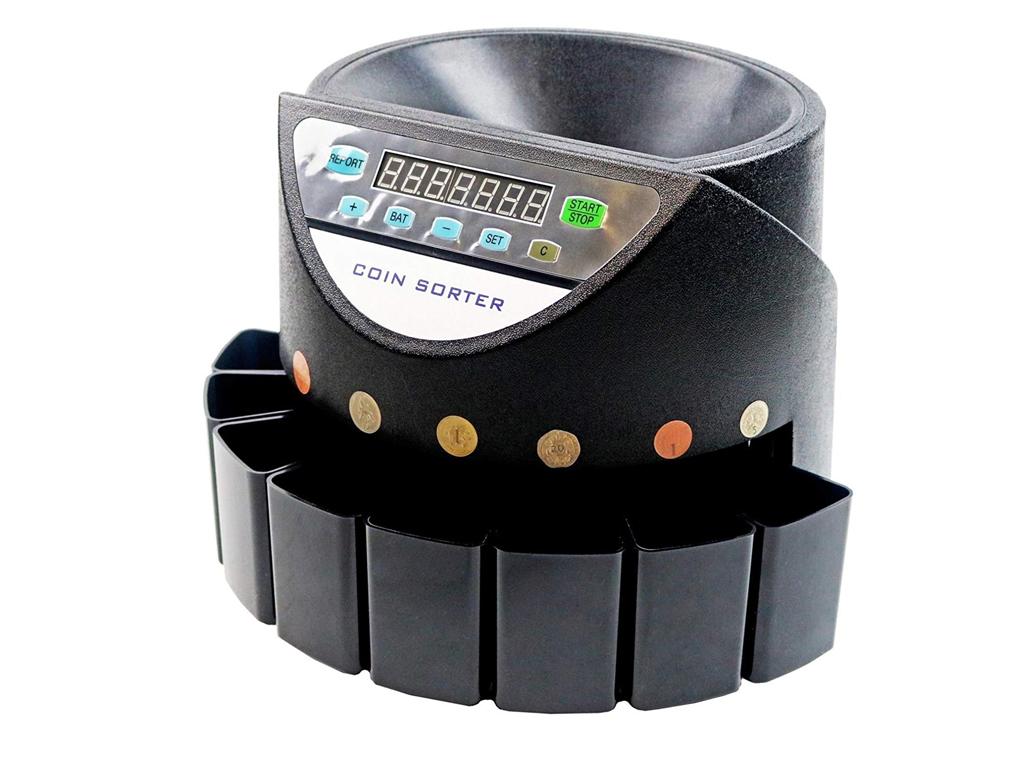 Αυτόματος διαχωριστής κερματομετρητής χρημάτων, μετρητής νομισμάτων με οθόνη LCD και ξεχωριστές θήκες εξόδου - Cb