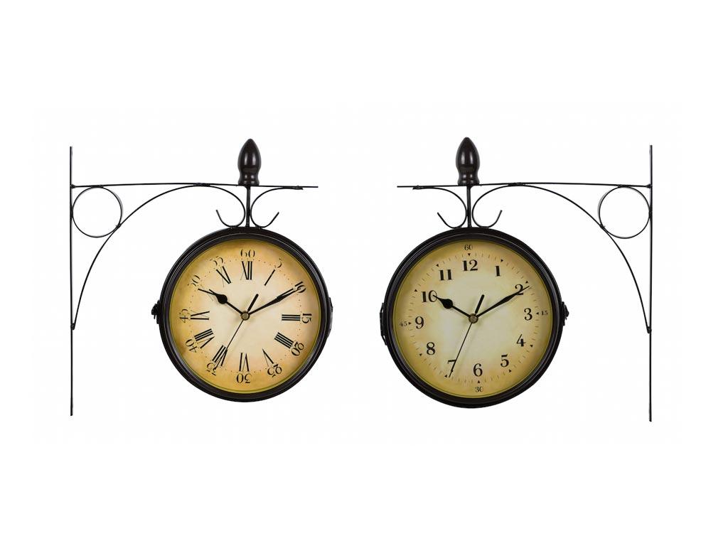 Κρεμμαστό Ρολόι Τοίχου, Τύπου Σταθμού, Μεταλλικής κατασκευής σε Μαύρο Χρώμα, σε 2 Σχεδια - Cb