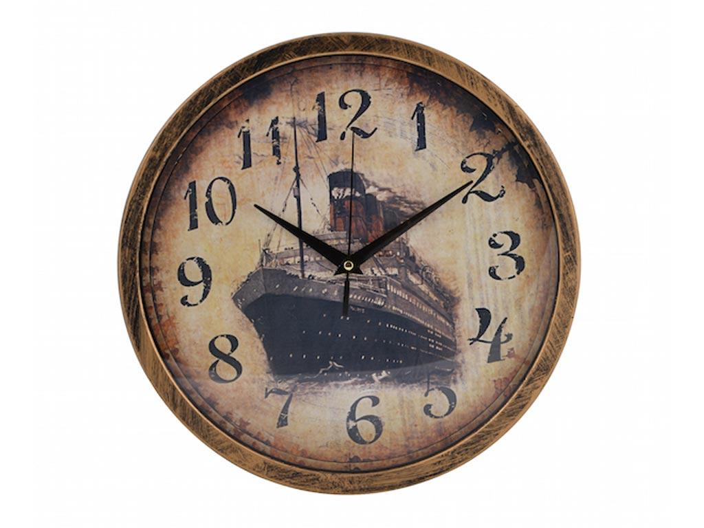Ξύλινο Ρολόι Τοίχου Διαμέτρου 30 εκατοστά, σε 4 Vintage Σχέδια Πλοίο - Cb