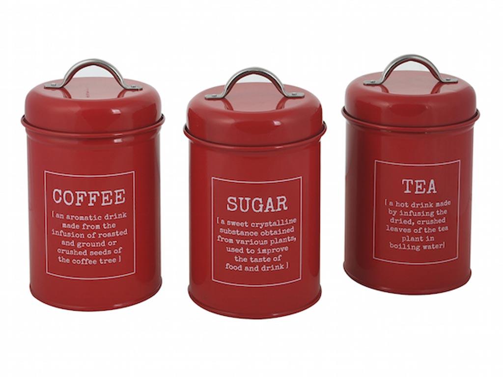 Σετ 3 Μεταλλικά Βάζα για καφέ, ζάχαρη και τσάι, Διαστάσεων 11x17.5 εκατοστά, σε 4 Σχέδια Κόκκινο - Cb