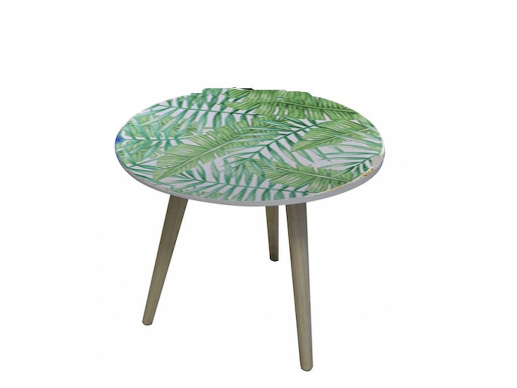 Ξύλινο Διακοσμητικό Τραπέζι, με καλοκαιρινές Παραστάσεις, Διαστάσεων 50x45 εκατοστά, σε 6 σχέδια Φύλλα - Cb