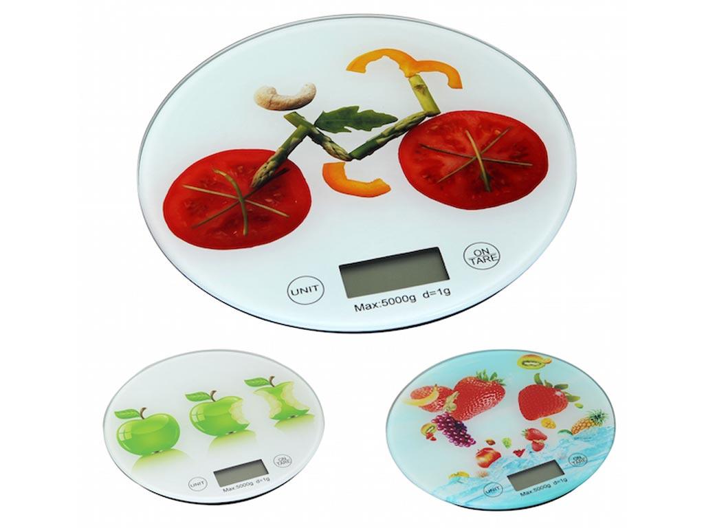 Ψηφιακή Γυάλινη Στρογγυλή Ζυγαριά Κουζίνας Ακριβείας Γραμμαρίου, σε 3 Διαφορετικά Σχέδια - Cb