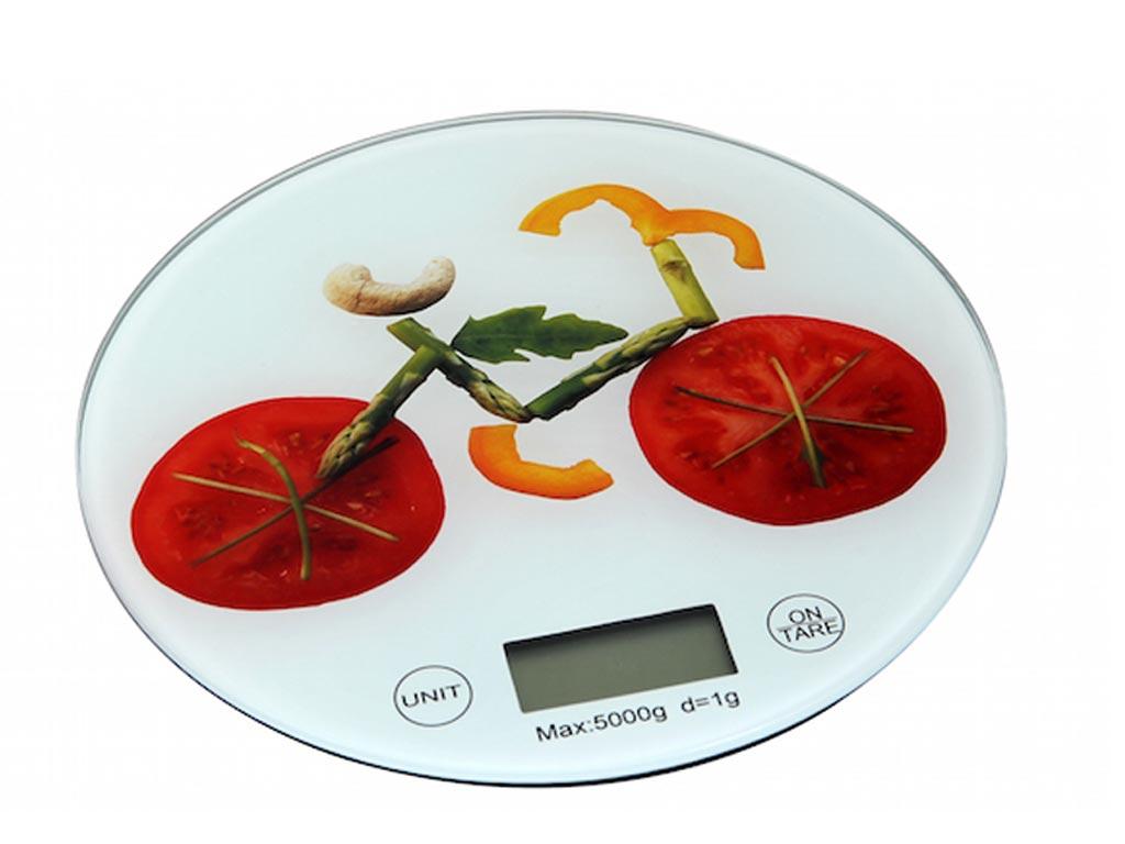 Ψηφιακή Γυάλινη Στρογγυλή Ζυγαριά Κουζίνας Ακριβείας Γραμμαρίου, σε 3 Διαφορετικά Σχέδια Λαχανικά - Cb