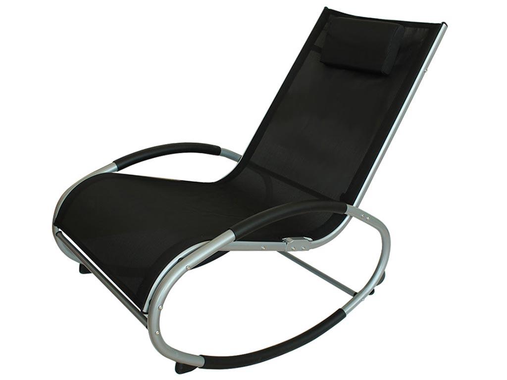 Ελλειπτική Κουνιστή Καρέκλα με μεταλλικό μαύρο σκελετό και μαύρο κάλυμμα, διαστάσεις 151x62x91 εκατοστά - Cb
