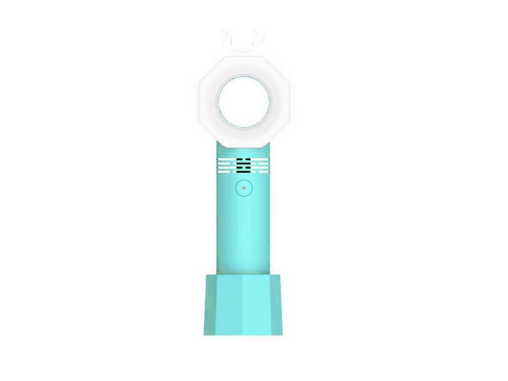 Μίνι Ανεμιστήρας Χειρός Χωρίς Λεπίδες με LED φωτισμό, εσωτερική μπαταρία και φόρτιση με USB, σε 3 χρώματα, διαστάσεις 24x7x7 εκατοστά Τιρκουάζ - Cb