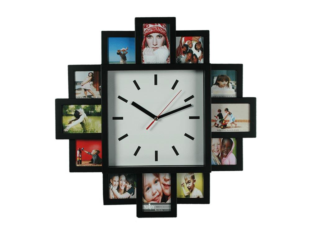 Πλαστική κορνίζα τοίχου για 12 φωτογραφίες με ρολόι, διαστάσεων 38.5x38.5x4.5 εκατοστών, 79/3015 - Out Of The Blue