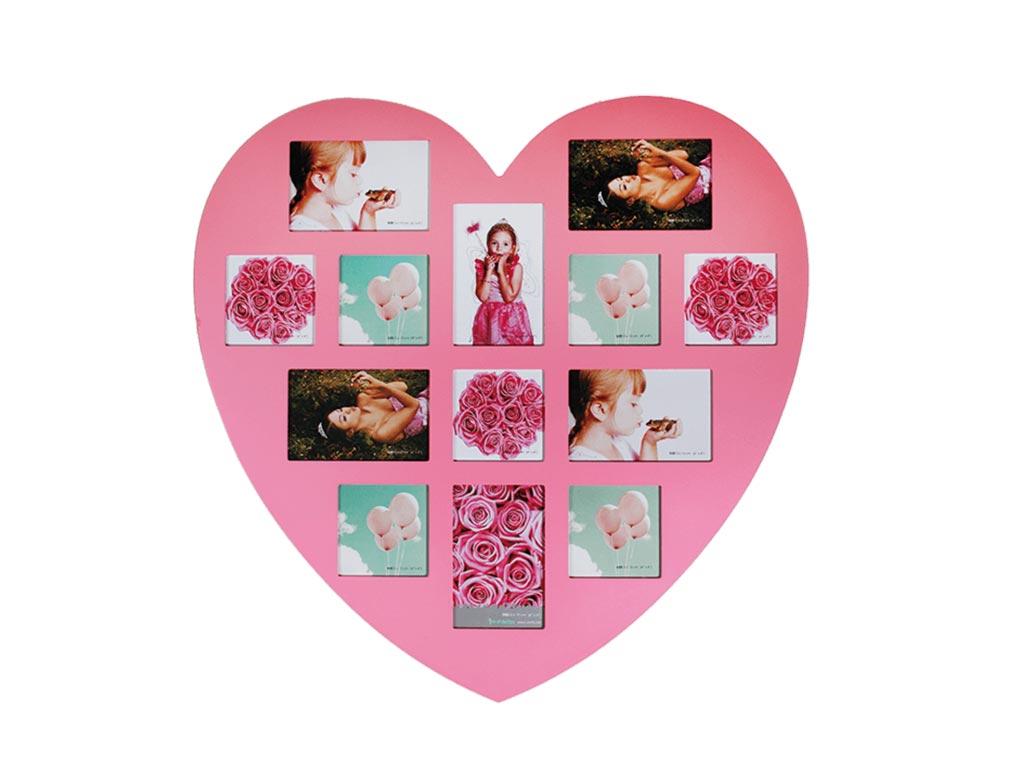 Ξύλινη ροζ πολυκορνίζα σε σχήμα καρδιάς για 13 φωτογραφίες, διαστάσεων 60x60 εκατοστά, 94/2495 - Out Of The Blue