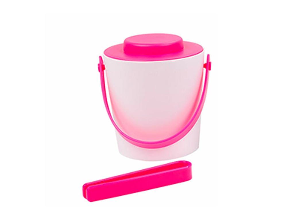 Κουβάς μεταφοράς πάγου με καπάκι και λαβίδα, χωρητικότητας 1,2L , σε 3 χρώματα Ροζ - Fresh & Cold