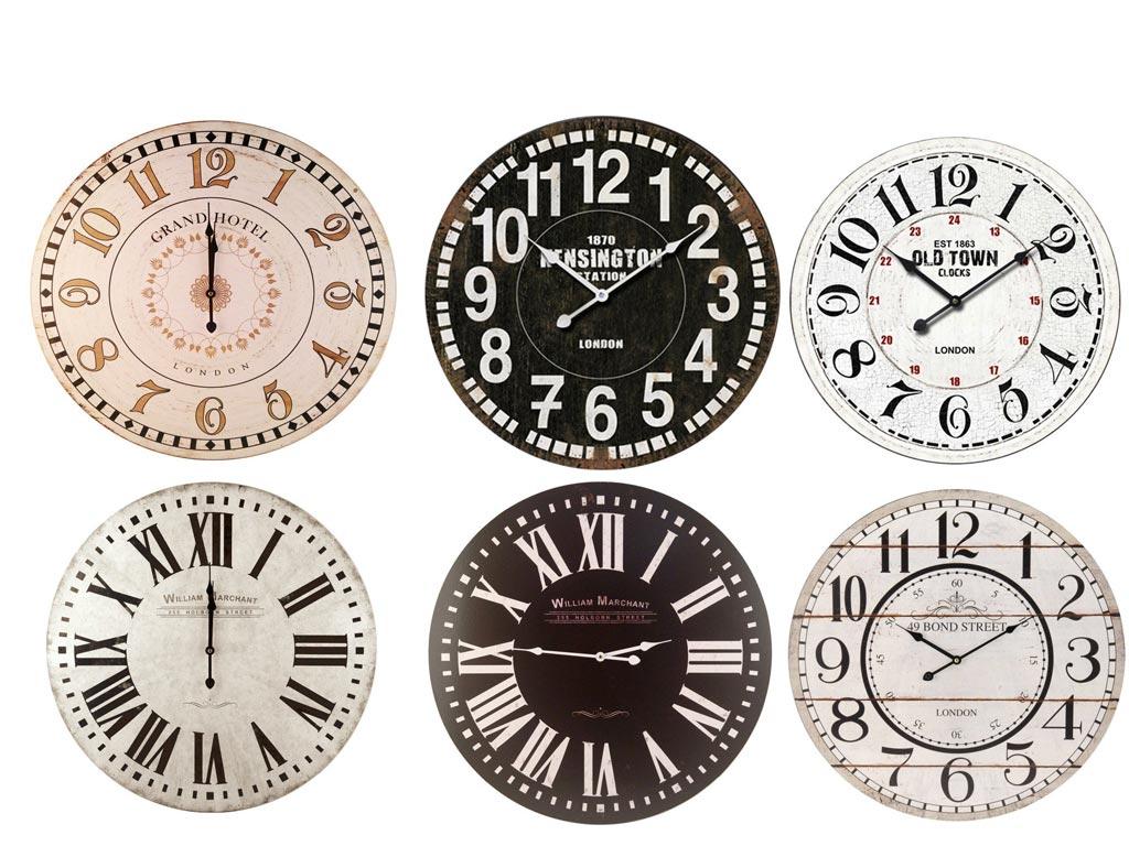 Vintage Ξύλινο Διακοσμητικό ρολόι τοίχου, σε 6 σχέδια, διάμετρος 60 εκατοστά, Y36000070 - Emako
